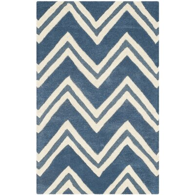 Martins Navy / Ivory Area Rug Rug Size: 26 x 4
