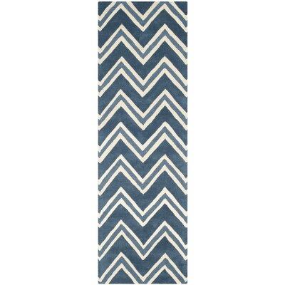 Charlenne Hand-Tufted Navy/Ivory Area Rug Rug Size: Runner 26 x 8