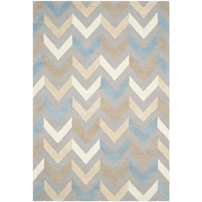 Martins Grey / Ivory Chevron Indoor / Outdoor Area Rug Rug Size: Rectangle 2 x 3