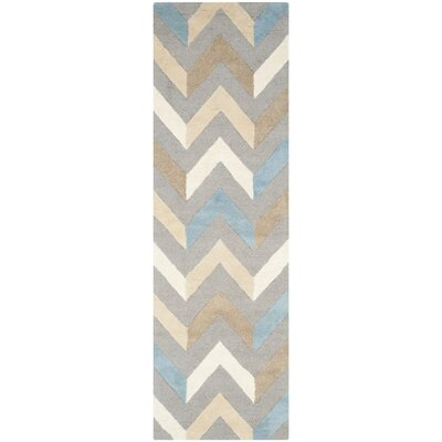 Martins Grey / Ivory Chevron Indoor / Outdoor Area Rug Rug Size: Runner 26 x 8