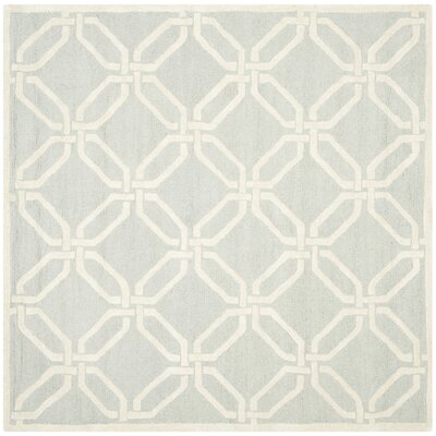 Martins Hand-Tufted Light Grey/Ivory Area Rug Rug Size: Square 6
