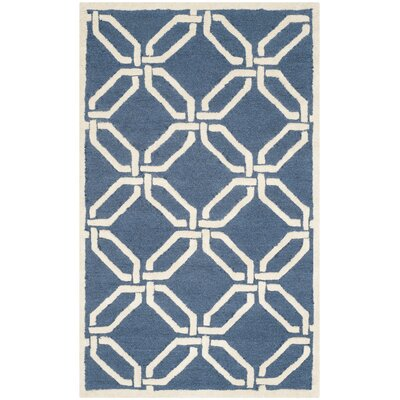 Martins Hand-Tufted Navy/Ivory Area Rug Rug Size: Rectangle 3 x 5