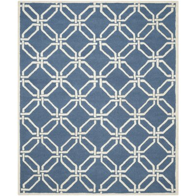 Martins Navy / Ivory Area Rug Rug Size: 5 x 8