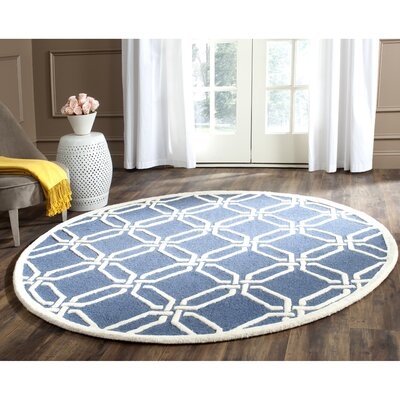 Martins Hand-Tufted Navy/Ivory Area Rug Rug Size: Round 6