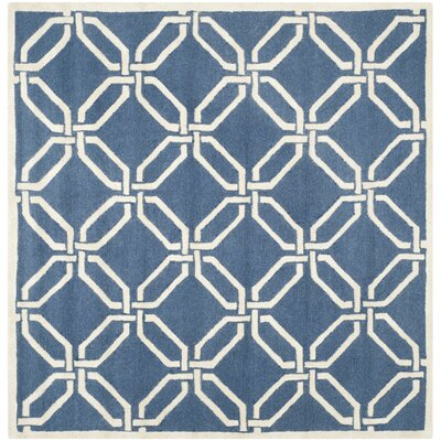 Martins Hand-Tufted Navy/Ivory Area Rug Rug Size: Square 6