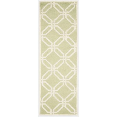 Martins Hand-Tufted Lime/Ivory Area Rug Rug Size: Runner 26 x 8