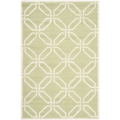 Martins Lime / Ivory Area Rug Rug Size: 4 x 6