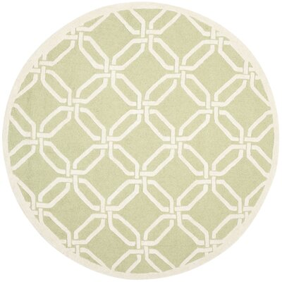 Martins Hand-Tufted Lime/Ivory Area Rug Rug Size: Round 6