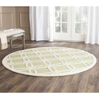 Martins Lime / Ivory Area Rug Rug Size: Round 6
