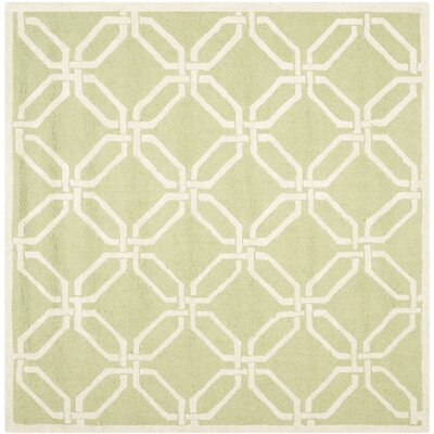Martins Hand-Tufted Lime/Ivory Area Rug Rug Size: Square 6