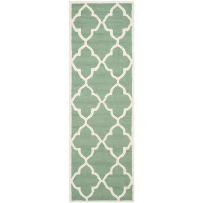 Charlenne Hand-Tufted Teal/Ivory Area Rug Rug Size: Runner 26 x 8