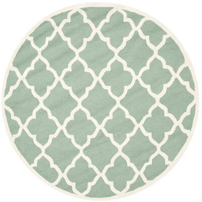 Charlenne Hand-Tufted Teal/Ivory Area Rug Rug Size: Round 6