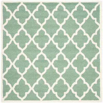 Charlenne Hand-Tufted Teal/Ivory Area Rug Rug Size: Square 6