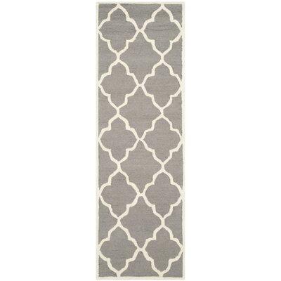 Charlenne Hand-Tufted Dark Grey/Ivory Area Rug Rug Size: Runner 26 x 8