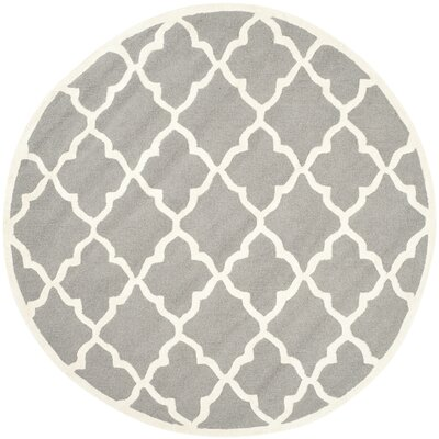 Charlenne Hand-Tufted Dark Grey/Ivory Area Rug Rug Size: Round 6