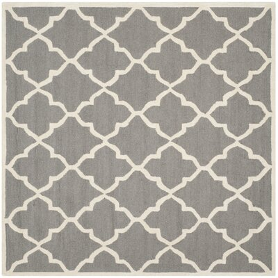 Charlenne Hand-Tufted Dark Grey/Ivory Area Rug Rug Size: Square 6