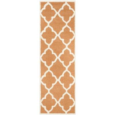 Charlenne Hand-Tufted Orange/Ivory Area Rug Rug Size: Runner 26 x 8