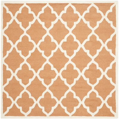 Charlenne Hand-Tufted Orange/Ivory Area Rug Rug Size: Square 6