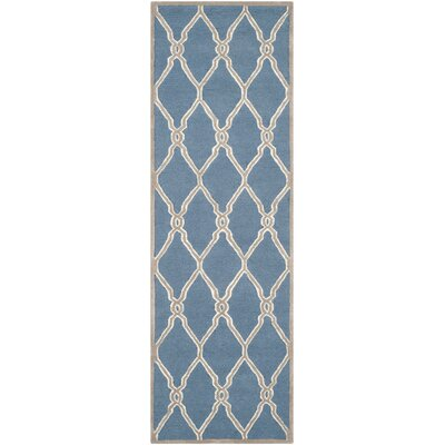 Martins Hand-Tufted Navy/Ivory Area Rug Rug Size: Runner 26 x 8