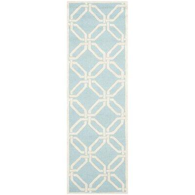 Martins Hand-Tufted Light Blue/Ivory Area Rug Rug Size: Runner 26 x 8
