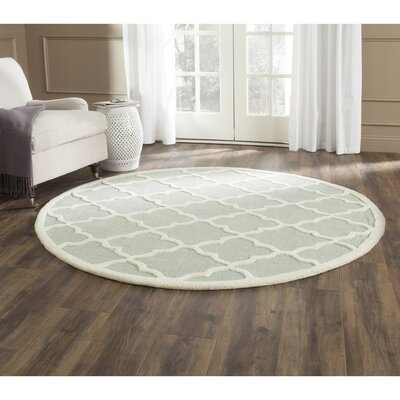 Charlenne Hand-Tufted Light Gray/Ivory Area Rug Rug Size: Round 6
