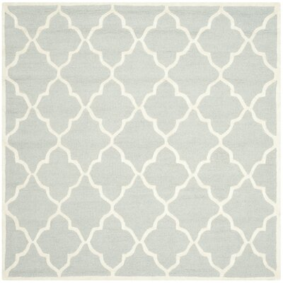 Charlenne Hand-Tufted Light Gray/Ivory Area Rug Rug Size: Square 6