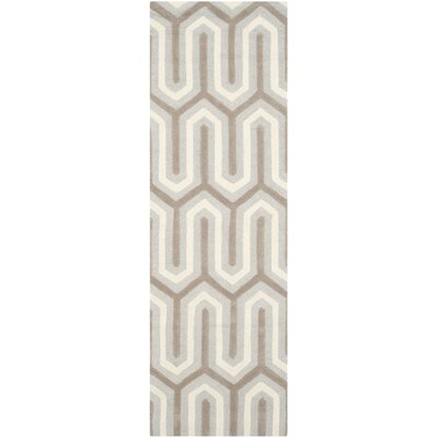 Martins Hand-Tufted Light Gray & Ivory Area Rug Rug Size: Runner 26 x 8
