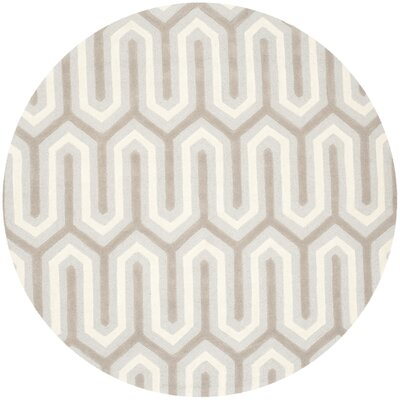Martins Hand-Tufted Light Gray & Ivory Area Rug Rug Size: Round 6