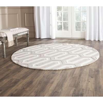 Martins Light Grey & Ivory Area Rug Rug Size: Round 6