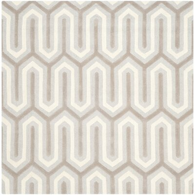 Martins Hand-Tufted Light Gray & Ivory Area Rug Rug Size: Square 6