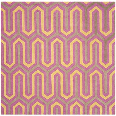 Martins Hand-Tufted Pink/Gray Area Rug Rug Size: Square 6