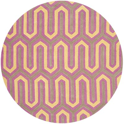 Martins Hand-Tufted Pink/Gray Area Rug Rug Size: Round 6