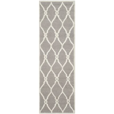 Martins Hand-Tufted Dark Gray/Ivory Area Rug Rug Size: Runner 26 x 8