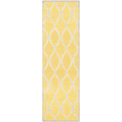 Martins Hand-Tufted Gold/Ivory Area Rug Rug Size: Runner 26 x 8