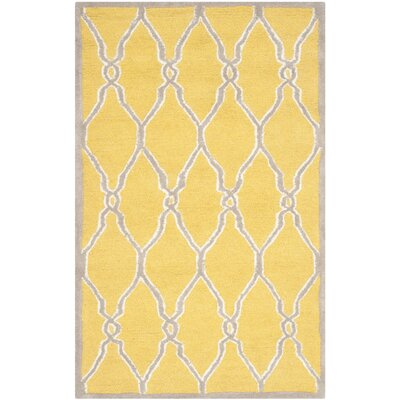 Martins Hand-Tufted Gold/Ivory Area Rug Rug Size: Rectangle 2' x 3'