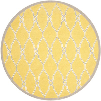 Martins Hand-Tufted Gold/Ivory Area Rug Rug Size: Round 6'