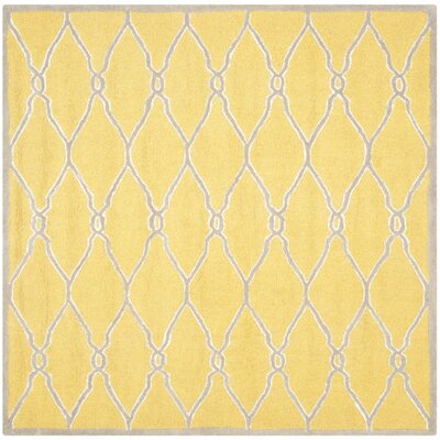 Martins Hand-Tufted Gold/Ivory Area Rug Rug Size: Square 6