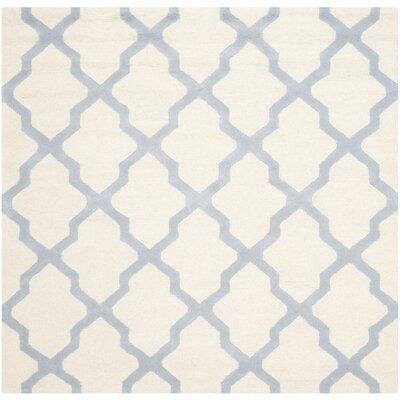 Charlenne Ivory / Light Blue Area Rug Rug Size: Square 6