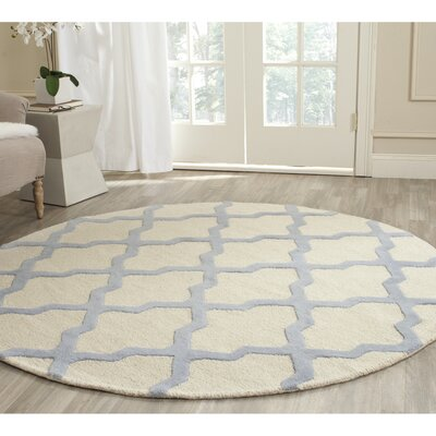 Charlenne Hand-Tufted Ivory/Gray Area Rug Rug Size: Round 6
