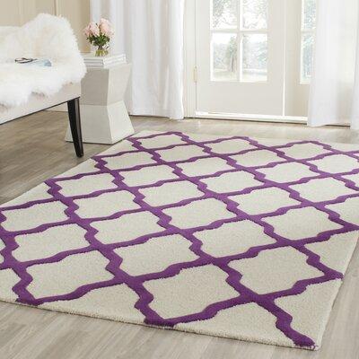 Charlenne Ivory / Purple Area Rug Rug Size: Runner 26 x 8
