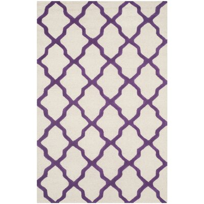 Martins Ivory / Purple Area Rug Rug Size: 4 x 6