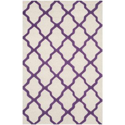 Charlenne Ivory / Purple Area Rug Rug Size: 5 x 8