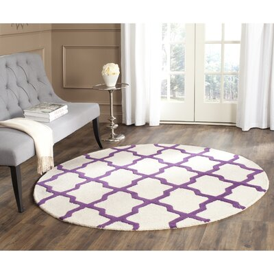Charlenne Ivory / Purple Area Rug Rug Size: Round 6