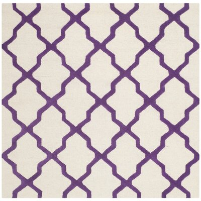 Charlenne Ivory / Purple Area Rug Rug Size: Square 6