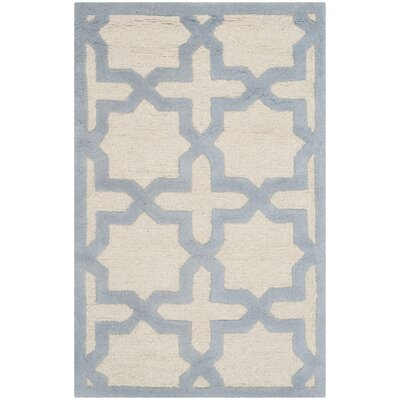 Martins Hand-Woven Wool Ivory/Light Blue Area Rug Rug Size: Rectangle 26 x 4
