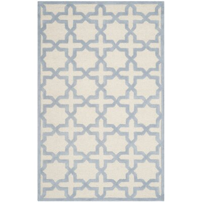 Martins Hand-Woven Wool Ivory/Light Blue Area Rug Rug Size: Rectangle 8 x 10