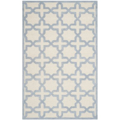 Martins Ivory / Light Blue Area Rug Rug Size: 5 x 8
