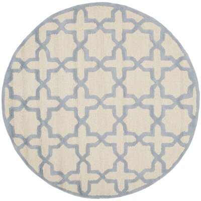 Martins Hand-Woven Wool Ivory/Light Blue Area Rug Rug Size: Round 6