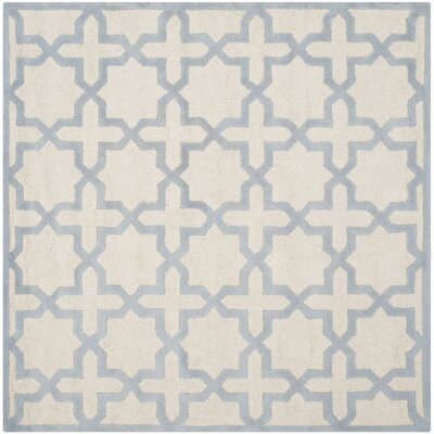 Martins Ivory / Light Blue Area Rug Rug Size: Square 6