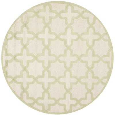 Martins Ivory / Light Green Area Rug Rug Size: Round 6